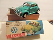 """1950's Ko Japan"""" Vw Beetle Battery Operated/remote Controltin Toy Car W/box"""