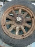 Antique Wooden Car Tire Rim And Brake Hub Pontiac Other Makes 10 Spoke 1920-30and039s