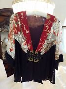New Spencer Alexis Holiday Jacket Burgandy Lapel Red Floral Gold Stripes Xl