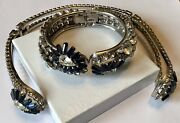 Super Rare Juliana D And E Blue And Clear Rhinestone Clamper Necklace And Bracelet