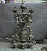 Huge Chinese Bronze Ware Silver Lion Dragon Statue Candle Holder Incense Censer