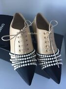16a Beige Leather Black Grosgrain Cap Toe Faux Pearl Lace Up Loafers 36.5