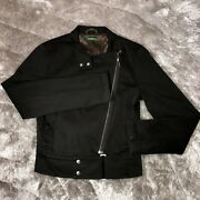 United Colors Of Benetton Womens Asymmetrical Zip Bronze Brown Cafe Racer Jacket