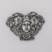 Art Nouveau Floral Lady Brooch Sterling Silver Unger Brothers