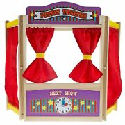 Wooden Puppet Theater Stage Show For Kids Pretend Play Imagination Creativity