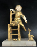 Georges Omerth Signed French Bronze Sculpture Girl Feeding A Duck Antique