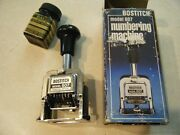 Bostitch Model 607 Numbering Machine Excellent Condition Box Bottle Of Ink