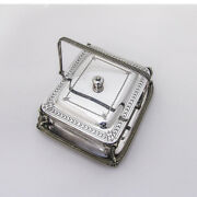English Covered Cheese Dish Cut Glass Hutton Sons Silverplate 1890s