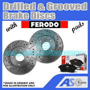 Drilled And Grooved 5 Stud 374mm Vented Brake Discs D_g_3135 With Ferodo Pads