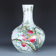 Chinese Old Fine Porcelain Qianlong Marked Eight Peach Famille Rose Vases 20.5
