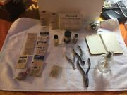 Vintage Watchmakers Tools Andparts Empty Bottles And Handwritten Instruction Book