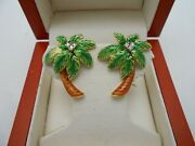 Vintage And Gorgeous 18k 750 Yellow Gold Palm Tree Diamond Earrings Colored Enamel