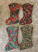 Lot Of 4 Handmade Christmas Stocking Traditional Victorian Colonial Vintage