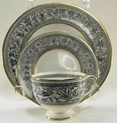 3 Piece Wedgwood China Florentine Black Dragons Salad Bread Plate And Coffee Cup