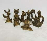 Lot Of 8 Vintage Brass Figurines Mod.dep.made In Italy