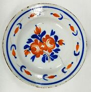 Early Antique Gaudy Dutch Ironstone Charger Bowl Platter With Staple Repairs