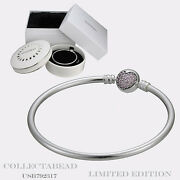 Authentic Pandora Silver 8.3 Circle Of Love Bangle With Porcelain Box Usb792321