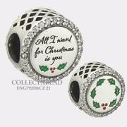Authentic Pandora Silver All I Want 4 Christmas Bead Eng792016cz_21