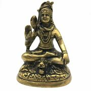 Solid Brass India God Lord Shiva Siva In Meditation Statue 4 Handcrafted