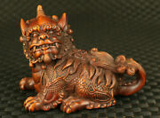 Unique Chinese Old Boxwood Fortune Kylin Statue Noble Table Decoration Blessing