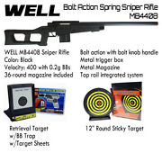 Well Black Bolt Action Spring Sniper Rifle Airsoft + 2 Different Target Bb Traps