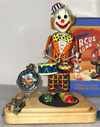 Fossil Clown Pocket Watch With Tin Animated Toy Clown New And Complete