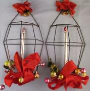 Vtg Christmas Decoration Lantern Mercury Glass Candle Wall Door Hanging Holly