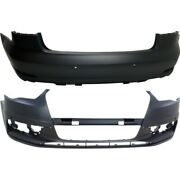 Pair Bumper Covers Set Of 2 Front And Rear Au1000219 Au1100216 For Audi A3 15-16