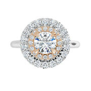 2.40 Ct Moissanite Round Forever One Halo Micro Pave 2 Tone Engagement Ring