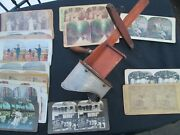 Antique Stereoscope Viewer Engraved Aluminum Patent 1900 Stereo Picture Cards 27