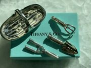 Rare And Co. Sterling Silver 4 Pc Doll House Gardening Tool Basket Set