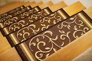 Set Of 14 - Non Slip Carpet Stair Treads 8.5 X 26 Rugs For Stairs Floral