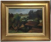 Antique Landscape Painting On Wood Board By Ludwig Dill 1848-1940 Provenance