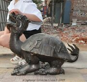 Old Chinese Fengshui Bronze Longevity Lucky Animal Dragon Turtle Tortoise Statue