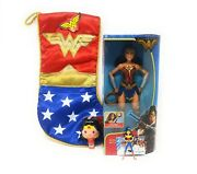 Nwt Wonder Woman Satin Stocking Battle Ready Figure With 2 Ornaments Gift Set