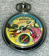 Dan Dare 1950's Ingersoll Pocket Watch With Eagle Engraved On Back Animated
