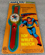 Superman Toy Watch 1975 Marx Toy Watch  New On Cardboard Backing   Rare