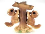 Vintage Squirrel Salt And Pepper Shakers Set Hanging On Tree Made In Japan M647
