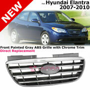 For 07-10 Hyundai Elantra | Honeycomb Front Painted Grey Abs Grilles Chrome Trim
