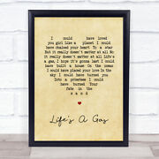 Lifeand039s A Gas Vintage Heart Song Lyric Art Gift Print