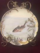 Antique Haviland And Co. Limoges Hand Painted Scalloped Striped Bass Plate