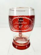 Antique 19th C. Czech Bohemian Handled Glass - Red Cut To Clear