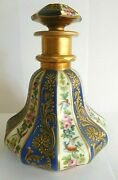 Antique Darte French Hand Painted Porcelain Scent / Perfume Bottle With Birds