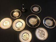 The Art Of Chokin 24k Gold Edge - Made In Japan - Lot Of 8 Plates And 1 Bell