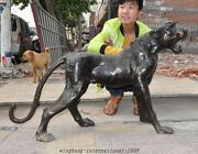 40 Chinese Fengshui Bronze Growled Wild Animals Leopard Panther Leopards Statue