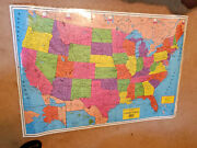 Vintage The George F. Cram Co. Laminated 49 X 33 Wall Display Map Of The World