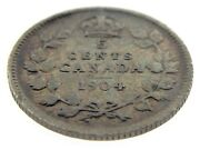 1904 Canada Five Cents Small Silver Canadian Circulated Edward Vii Coin M816