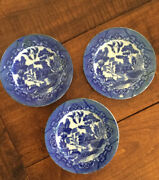 3 Antique Blue Willow Childand039s Dinner Plates Vtg Porcelain Toy Dishes Japan 5andrdquo