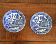 2 Antique Blue Willow Childand039s Dinner Plates Porcelain Toy Dishes Japan 3 3/4andrdquo