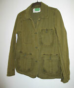 Anthropologie Green Cotton Jacket W Ruffle Accents 100 Cotton Size Xs 36 Bust